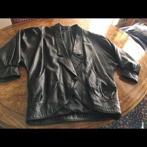 Black Leather Jacket Tuxedo Style L